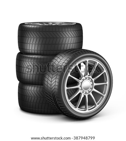 Four Car Wheels on White Background 3D Illustration