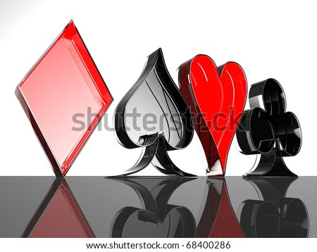 Four card suits on the black glossy floor. 3d computer modeling - stock photo