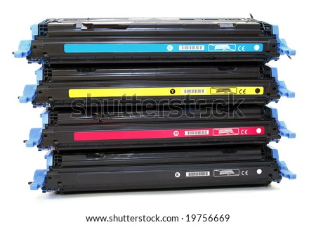 Four cartridges for laser printers - stock photo