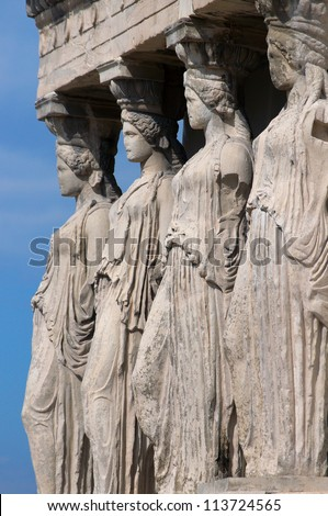 Four Caryatids, The Erechtheum, Acropolis, Athens, Greece - stock photo