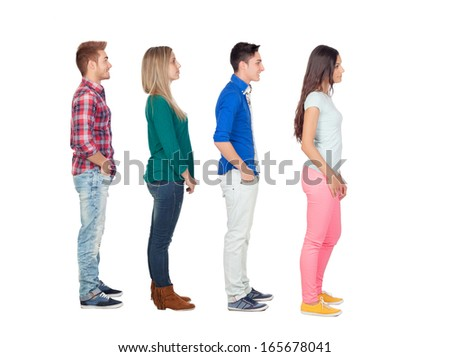 Four casual group of people in a row isolated over a white background  - stock photo