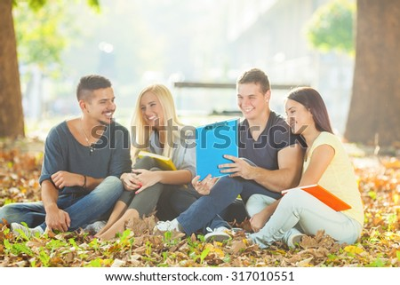 Four cheerful college students having fun sitting on the ground in a park - stock photo
