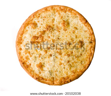 Four cheese pizza isolated on white background - stock photo