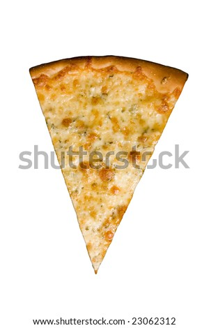 Four cheese pizza slice isolated on white background with clipping path