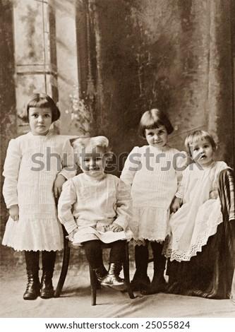 Four Children Vintage Photograph - stock photo