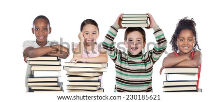 Four children with many books isolated on a white background