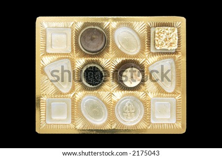 Four chocolate candies in a golden box. & Empty Chocolate Box Stock Images Royalty-Free Images u0026 Vectors ... Aboutintivar.Com
