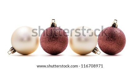 four christmas balls in line, isolated on white background