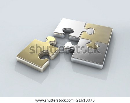 four chrome puzzle connection - stock photo