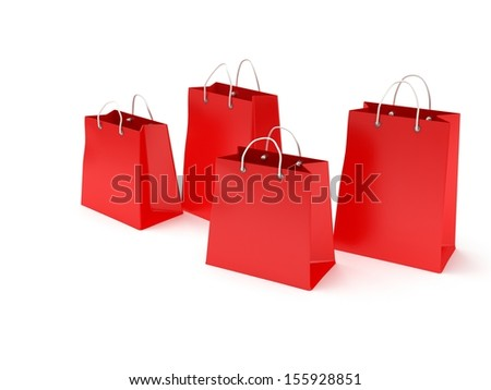 four classic red blank shopping bags with handles isolated on white. (3d render)