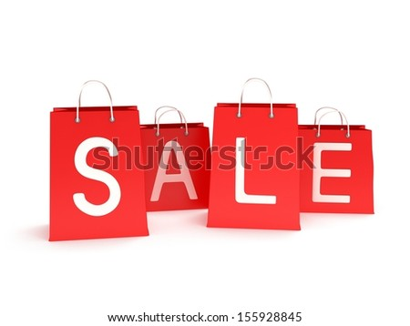 four classic red shopping bags with handles with inscription promote sale isolated on white. (3d render)