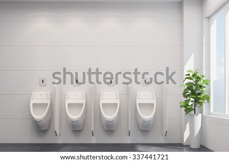 Four clean white urinals in a public restroom (3D Rendering) - stock photo