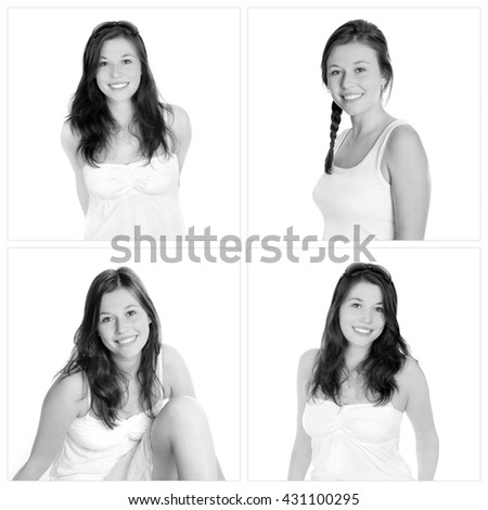 Four closeup portraits of the same young woman, smiling and happy, in front of white studio background, black and white photos - stock photo