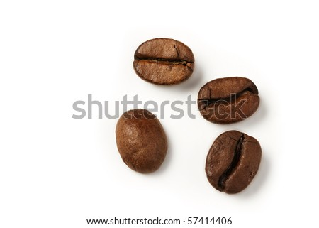 four coffee beans from top on white background - stock photo
