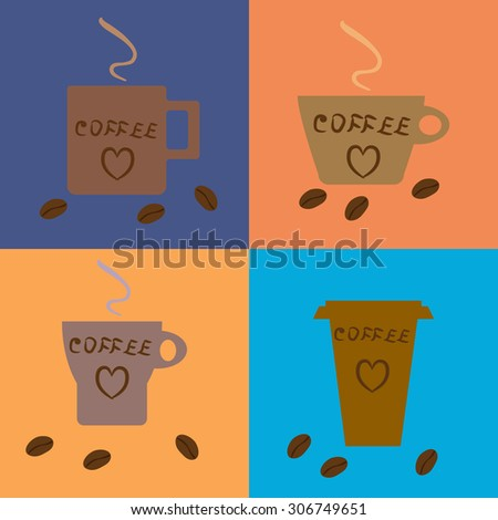 Four coffee cups of different types on colored  backgrounds. Coffee beans and hand drawn hearts. Raster copy of previously submitted image. - stock photo