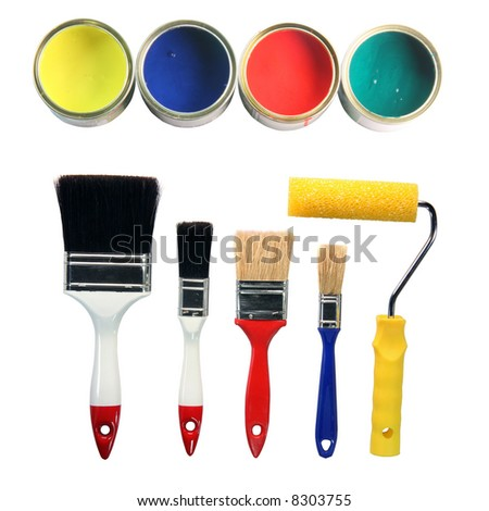 four color cans and four paint brushes and paint roll totally isolated on white background hardware tools - stock photo