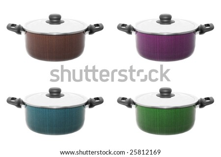 Four color cooker pans isolated on white
