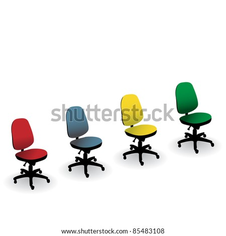 four color office chair isolated on a white - illustration - stock photo