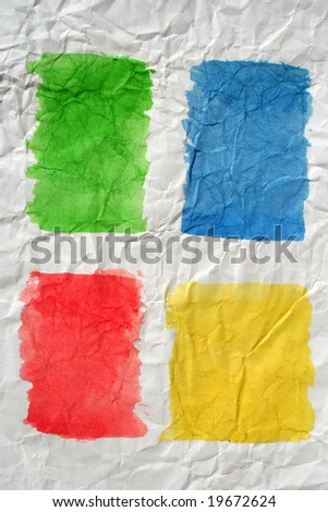 Four color painted crushed paper. Art is created and painted by photographer. - stock photo