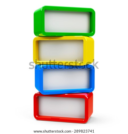Four color rectangle - represents four steps, three-dimensional rendering - stock photo