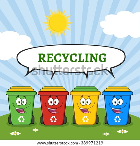 Four Color Recycle Bins Cartoon Character On A Sunny Hill With Speech Bubble And Text Recycling. Raster Illustration Isolated On White Background - stock photo