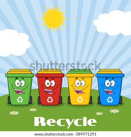 Four Color Recycle Bins Cartoon Character On A Sunny Hill With Text Recycle. Raster Illustration Isolated On White Background - stock photo