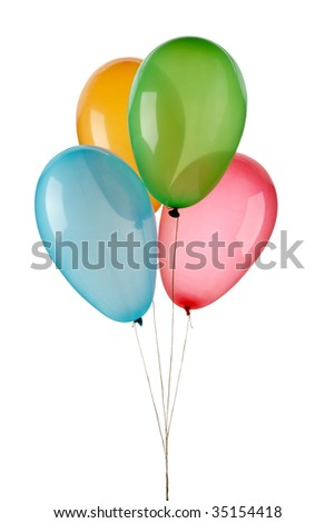 four colored balloons on a white background