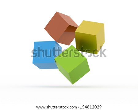Four colored cubes icon concept rendered on white background - stock photo