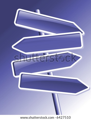 four colored direction arrows on blue - stock photo