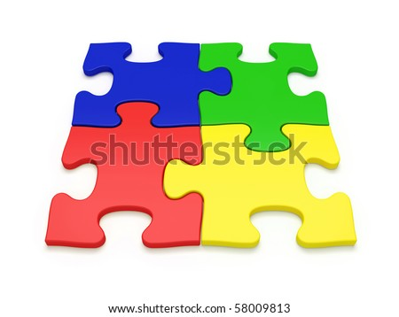 Four colored jigsaw puzzles - more variations in portfolio - stock photo