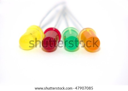 Four colored LED's on a white background - stock photo