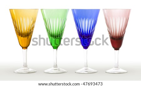 Four colored modern wineglasses - stock photo