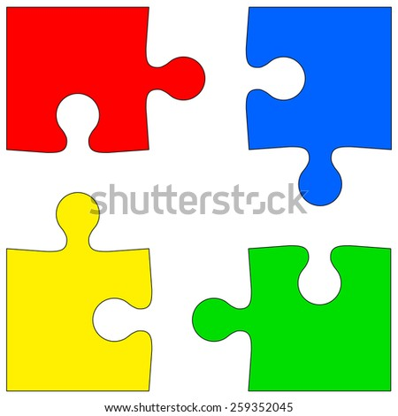 Four colored puzzle pieces on white background.  illustration.