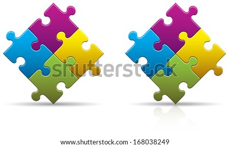 Four colored puzzle pieces with a shadow and reflection - stock photo