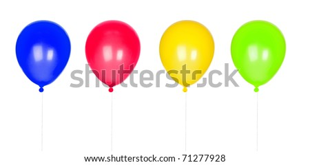 Four colorful balloons inflated isolated on white background - stock photo