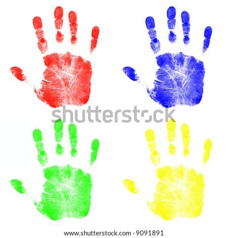Four Colorful Child Handprints - stock photo