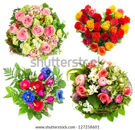 four colorful flowers bouquet for birthday, wedding, Mothers Day, Valentines Day. roses arrangement