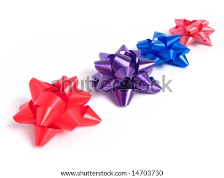 Four colorful gift Bows in white background - stock photo