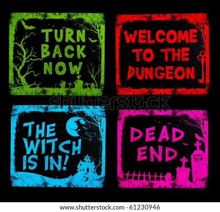 Four colorful Halloween signs isolated over black