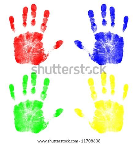 Four Colorful Handprints - stock photo