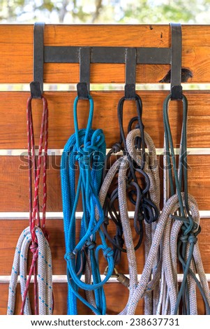 Four colorful horse training halters hanging in a barn outside on metal hooks and wooden plank wall - stock photo