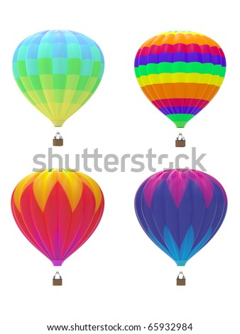 Four colorful hot air balloons on white background - stock photo