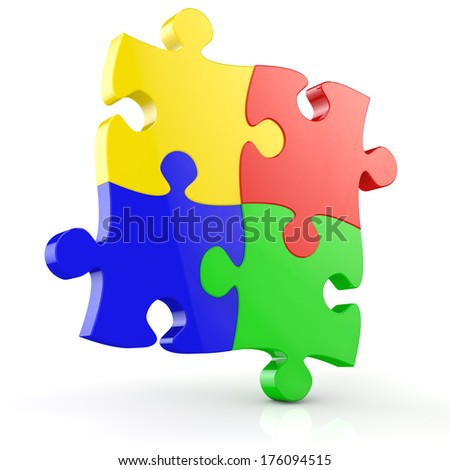 Four colorful jigsaw puzzle pieces isolated on a white background