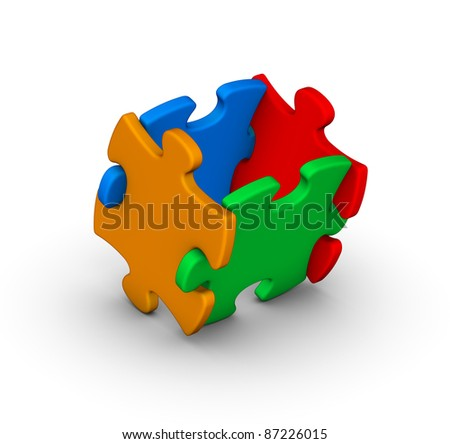 four colorful jigsaw puzzle pieces on white background - stock photo