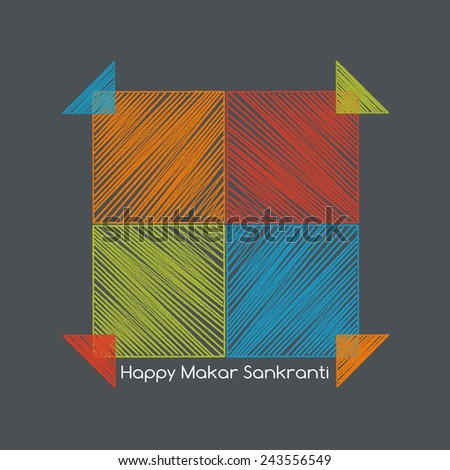 four colorful kites adjacent side with happy makar sankranti text - stock photo