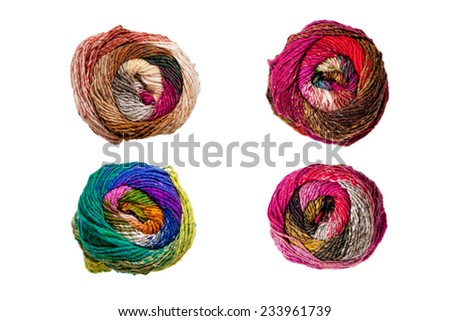 Four colorful knitting yarn balls - stock photo