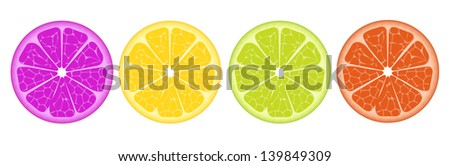 Four colorful lemon slices