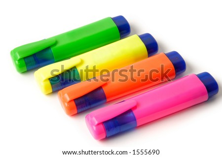 Four colorful markers isolated on white background