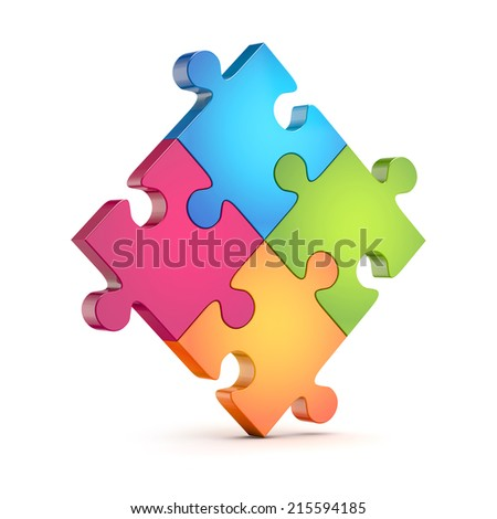 four colorful puzzle (jigsaw) pieces isolated white background with clipping path - stock photo