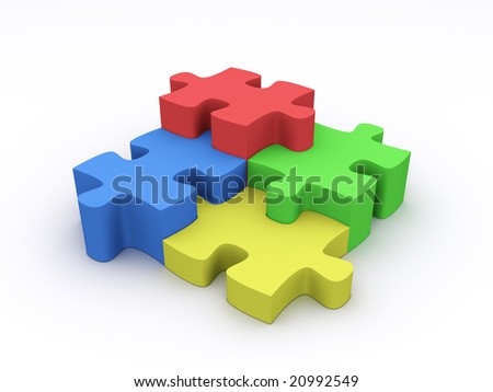 Four colorful puzzles on white background.